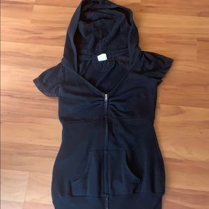 Blu Chic Black Short Sleeved Zip Hoodie SMALL